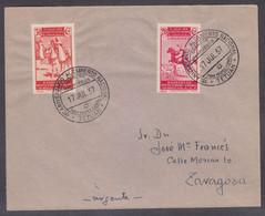 TETUAN A ZARAGOZA - SOBRE CON M.E. 1º ANIVERSARIO ALZAMIENTO NACIONAL- 1937 - CON SELLOS 226 Y 235 EDIFIL - MAT. LLEGADA - 1931-50 Cartas