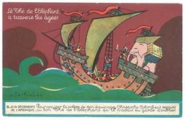 Cpa Publicitaire Thé De L'Eléphant, à La Découverte De L'Amérique, Christophe Colomb ..., Signée Lestrohan ( PUB ) - Werbepostkarten