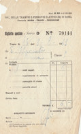 BIGLIETTO TRENO FERROVIE ROMA FIUGGI FROSINOME -TRANVIE ELETTRICHE -1943 (XF257 - Europa