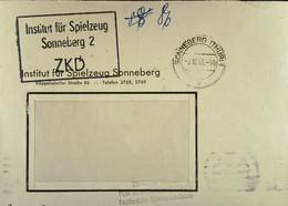 """Fern-Brief Mit ZKD-Kastenstempel """"Institut Für Spielzeug Sonneberg 2"""" Vom 3.12.63 - Service"""