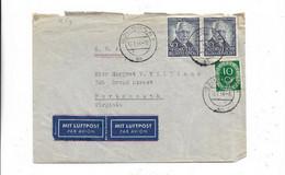 Brief Aus Bonn In Die USA 1954, Die Rechte Marke Ist Oben Beschädigt - Cartas