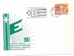 """66 - 26 - Carte Suisse Avec Dessin """"PEN"""" Et Rare Oblit Mécanique """"Settimana Europea 1961"""" Couronne Chiasso - Europese Gedachte"""