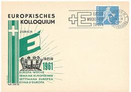 """66 - 27 - Carte Suisse Avec Dessin """"PEN"""" Et Rare Oblit Mécanique """"Europa Woche 1961"""" Couronne Zürich - Europese Gedachte"""