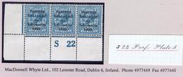 Ireland 1922 Thom Rialtas Blue-black 10d, Corner Strip Of 3 Control S22 Perf Fresh Mint, Hinged - Unused Stamps