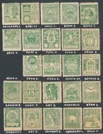 * 1900 Korona-fillér Bélyegtervek Zöld Színű Nyomatai, 24 Különféle - Non Classificati