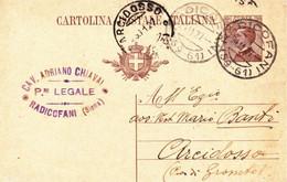 """RADICOFANI-SIENA-CARTOLINA POSTALE CON TIMBRO COMMERCIALE """"CAV.ADRIANO CHIAVAI-PROCUR.LEGALE"""" - ANNULLO FRAZIONARIO 1927 - Siena"""