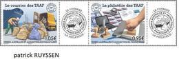 Taaf 2020 Fsat Antarctic Philately Mail Post Letter Bag Boat Postman Courier Philatelie 2v Strip  + 2 Label Mnh - Nuovi