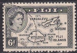 Fiji 1954 - 59 QE2 6d Black Map Of Fiji Used SG 287 ( C1378 ) - Fiji (...-1970)