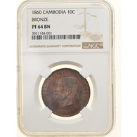 Monnaie, Cambodge, Norodom I, 10 Centimes, 1860, Bruxelles, Proof, NGC, PR64BN - Cambodia