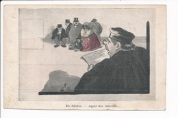 Carte Illustrateur à Identifier Caricature ( Avocat Juge Tribunal ) En Justice Appel Des Témoins ( Recto Verso ) - Andere Illustrators