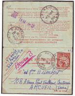 Cachet AUSTERLITZ PROVINCE D Sur PNEUMATIQUE De Paris Pour ARCUEIL 1953 ....lettre - 1961-....