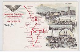 Österreich Farbige Karte Der Kremsthal-Steyerthal-u.Mühlkreisbahn Ungebraucht - Sin Clasificación