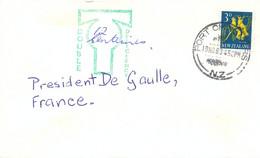 NOUVELLE ZELANDE PORT CHALMERS TàD 19 NO 63 + CACHET TAXE DOUBLE 12 C DEFICIENCY – PLI Pour PRESIDENT DE GAULLE - Cartas