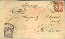 """1872, """"Chargé""""-Brief Mit 2 Groschen Kleiner Und 1 Groschen Großer Brustschild Ab HERNE. Seltene MiF! - Lettres"""