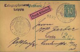 1925, 30 Pfg. Dienstganzsache Als Formular Für Eilboten Vom Telegraphenamt LEIPZIG - Covers