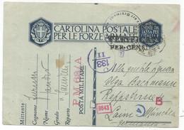 ITALIA ENTIER CAROLINA POSTA MILITARE PM 68/A 13.V.1942 TO MUNCHEN GERMANY CENSURE NAZI - Marcofilie