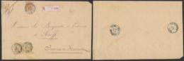 émission 1869 - N°28 Et 32 En Paire Sur Lettre En Recommandé (39g, 3 Port) De Bruxelles (R. Chancellerie) > Seneffe - 1869-1883 Leopold II