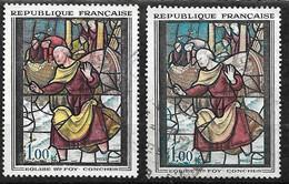 """France   N° 1377 Vitrail De Conches Et Variété 1377 Visage Blanc """" Rose Absent """"   Oblitérés  B/TB   Soldé  !  ! ! - Variétés: 1960-69 Oblitérés"""