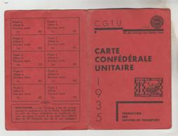 CARTE SYNDICALE C.G.T.U 1935 N°5028 33 Rue Granges Aux Belles Paris Fédération Des Moyens De Transport - Visitekaartjes