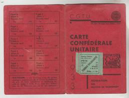 CARTE SYNDICALE C.G.T.U 1933 N°5028 33 Rue Granges Aux Belles Paris Fédération Des Moyens De Transport - Visitekaartjes