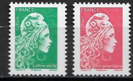 France 2018 Neuf ** Gommé  N° 5252 & 5253  Lettre Verte + Lettre Prioritaire  - Valeurs Faciales Au 01/01/201 : 2,36 € - 2018-... Marianne L'Engagée
