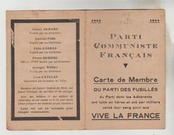 """CARTE MEMBRE N° 15002 EN 1944 DU """"PARTI COMMUNISTE FRANCAIS"""" - Visitekaartjes"""