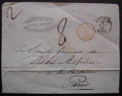 Suisse Fernex 1856 Marque D'entrée Sur Lettre De La Compagnie De L'ouest Des Chemins De Fer, Pour Paris - Marques D'entrées
