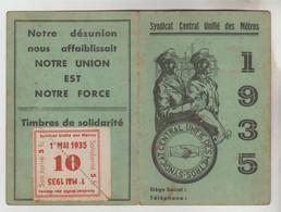CARTE MEMBRE N° 859 EN 1935 DU SYNDICAT CENTRAL UNIFIE DES METROS - Visitekaartjes