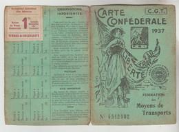 CARTE N°4512502 MEMBRE N° 3919 EN 1937 DU SYNDICAT C.G.T CARTE CONFEDERALE DES MOYENS DE TRANSPORT - Visitekaartjes