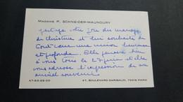 CARTE DE VISITE FAIRE-PART MARIAGE GENEALOGIE SCHNEIDER -MAUNOURY 47 BD. GARIBALDI PARIS 15eme - Visiting Cards
