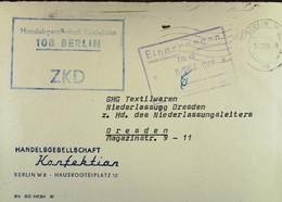 """Fern-Brief Mit ZKD-Kastenst """"Handelsgesellschaft Konfektion 108 BERLIN"""" 5.12.64 An GHG Textilwaren Dresden Mit EingSt. - Service"""
