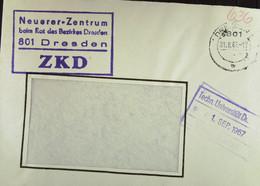 """Orts-Brief Mit ZKD-Kastenstempel """"Neuerer-Zentrum Beim Rat Des Bezirkes 801 Dresden"""" 31.8.67 An TU Dresden Mit EingStpl - Service"""