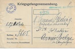 Kriegsgefangenensendung De SOLTAU Vers Soldat Armée Belge Du 20/1/1918 Avec Censures Belge Et Allemande - Prisoners