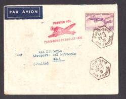 Enveloppe Premier Vol Paris-Rome - 1935 - PA N° 7 - Cachet Recette Auxiliaire Air France - 1927-1959 Briefe & Dokumente