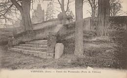 CARTE POSTALE ORIGINALE ANCIENNE : VERNEUIL SUR AVRE ENTREE DES PROMENADES PORTE DE TILLIERES EURE (27) - Verneuil-sur-Avre