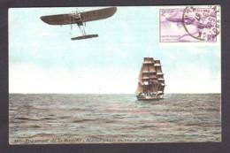 Carte Postale Colorisée + PA N° 7 (montage) - Traversée De La Manche Par Blériot - 1927-1959 Briefe & Dokumente