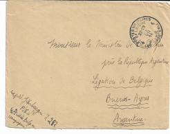 Lettre TP. 141 P.M.B. N° 4 Du 25/7/1918 Vers Légation Belge à BUENOS AYRES 01/09/1918. - Army: Belgium