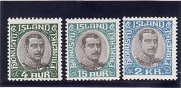 Islande 1920/30 Cat. Yvert N°34, 37, 40  **  Service - Servizio
