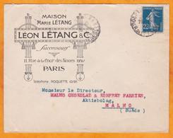 1915 - Enveloppe Commerciale Illustrée De Paris à Malmo, Suède - Chocolat - Art Nouveau  - 25 C Semeuse Camée - 1877-1920: Semi-moderne Periode