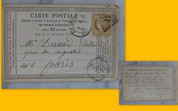 Aix-en-Provence  Pour Paris 1875, CP Précurseur 15 C Ceres, Cachets, Makaire Imprimeur,  Ref 2308 ; Ref CP05 - 1849-1876: Klassieke Periode