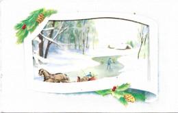 Carte Mignonnette - Bonne Année , Paysage De Neige Double - Neujahr
