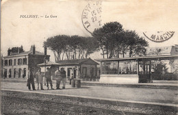 Thematiques 50 Manche Folligny La Gare Cachet 1920 - Other Municipalities
