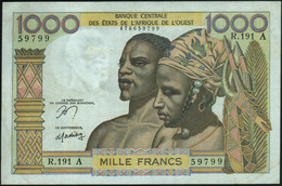 ♛ WEST AFRICAN STATES - 1.000 Francs 1959-1965 & Nd. {Ivory Coast A} VF P.103 Am - Côte D'Ivoire