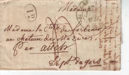 LAC De Calais Pour Auch Château De Mazères CAD Taxe Rurale 1837 - 1801-1848: Voorlopers XIX
