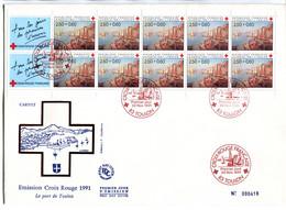 France Gde Enveloppe Avec Obl. Croix Rouge 1er Jour TOULON De 1991 Sur Ens. De De 8 TP Croix Rouge - Sonstige