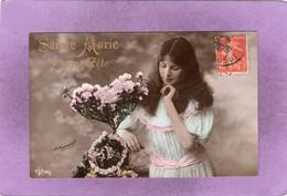 CPA    Sainte Marie Bonne Fête Jeune Fille Prés D'un Arbuste En Fleurs   H. Manuel DLG 351/1 - Zonder Classificatie