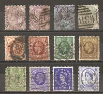 Grande-Bretagne - Perfins - Perforés - Petit Lot De 12° - Victoria - Georges V - QEII - Kilowaar (max. 999 Zegels)