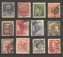 Monde - Perfins - Perforés - Petit Lot De 12° - Argentine - Canada - Soudan - Perou - Australie - Japon - Indochine... - Kilowaar (max. 999 Zegels)