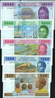 ♛ CENTRAL AFRICAN STATES - 500+1.000+2.000+5.000+10.000 Francs 2002 {Chad #C} {Pcs.5 Set} UNC P.606Cc To 610 Cc - Ciad