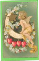ANGELOT Sur Croissant De Lune Avec étoile Et  Coeurs Suspendus - Anges